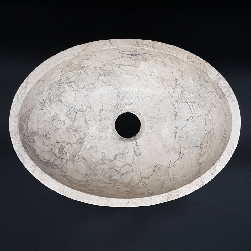 Bianca Perla Honed Oval Basin Limestone
