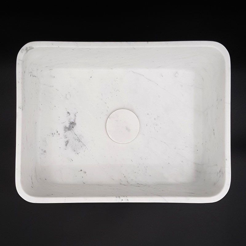 Carrara Honed Rectangle Marble Basin 3054