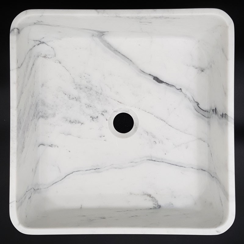 Carrara Honed Square Marble Basin 3030