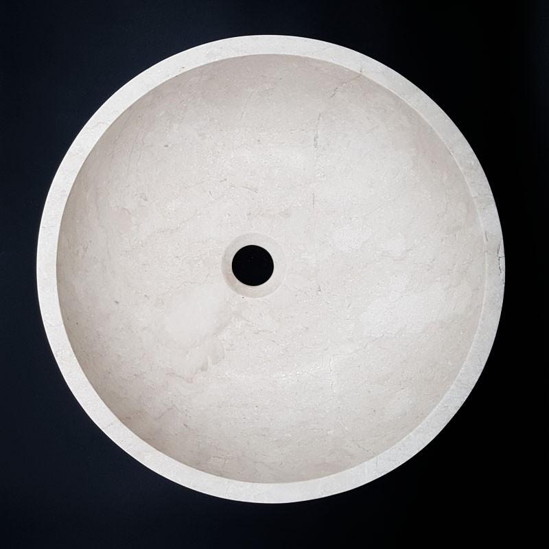 Bianca Perla Honed Round Basin Limestone 3002