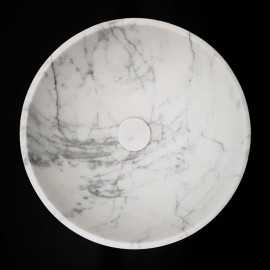 Carrara Honed Round Marble Basin 3029