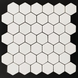 Thassos Hexagon Tumbled Marble Mosaic 48x48