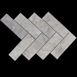 Silviano Herringbone Honed Travertine Mosaic