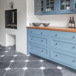 Boreas Blue Octagon & White Square Tumbled Marble