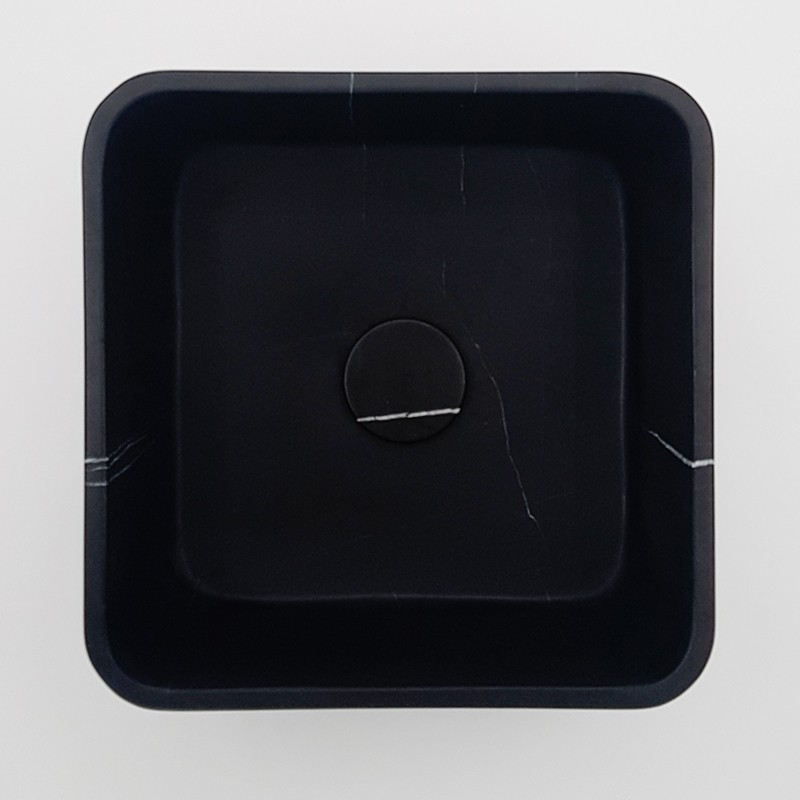 Nero Marquina Honed Square Marble Basin 3078