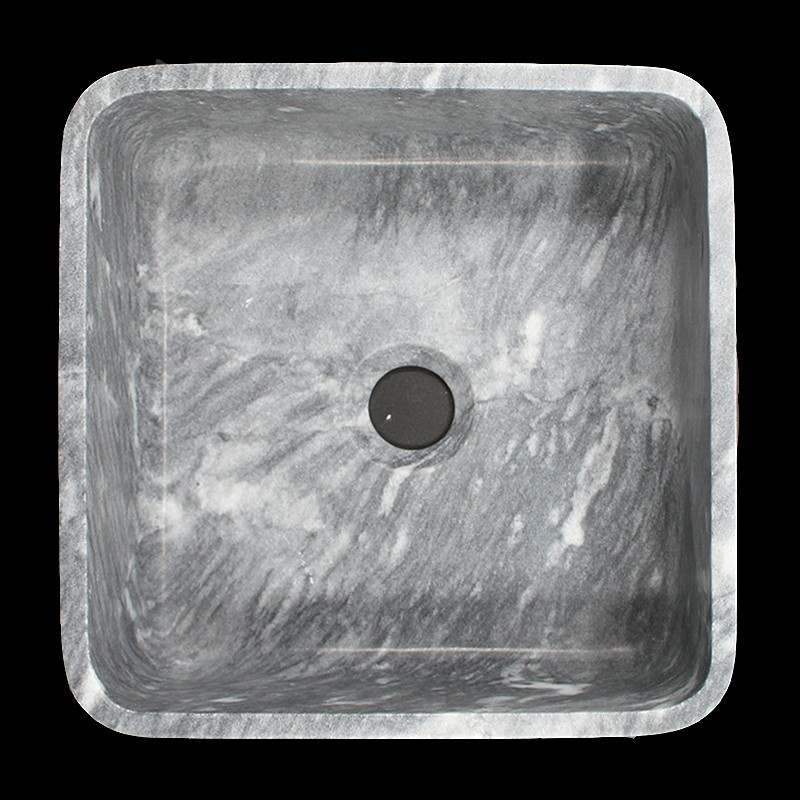 Crystal Grey Honed Square Basin Marble 1001