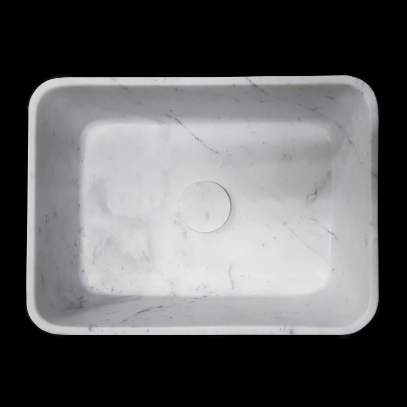 Carrara Honed Rectangle Marble Basin 3060