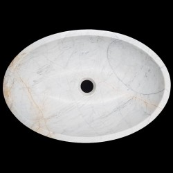 Persian White Honed Oval Basin Marble 3152
