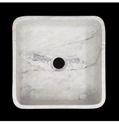 Persian White Honed Square Basin Marble 3156