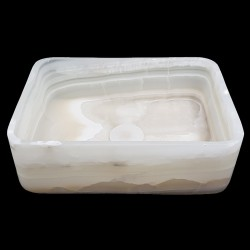 White Onyx Honed Rectangle Basin 3187