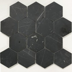 Nero Marquina Hexagon Honed Marble Mosaic 70x70