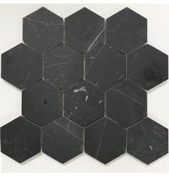 Nero Marquina Hexagon Honed Marble Mosaic 70x70