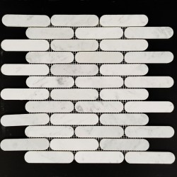 Long Oval Carrara Honed Marble Mosaic