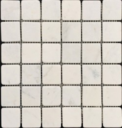 Carrara Tumbled Mosaic| Marble|Sheeted 48x48x7