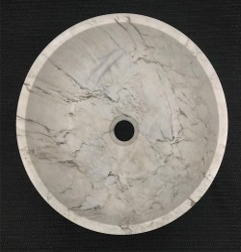 Persian White Honed Round Basin Marble 3234