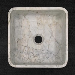 Persian White Honed Square Basin Marble 3303