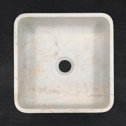 Persian White Honed Square Basin Marble 3304
