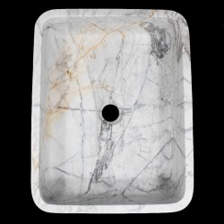Persian White Honed Rectangle Basin Marble 1023