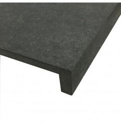 Black Basalt Flamed Rebated Pencil Round Step Tread