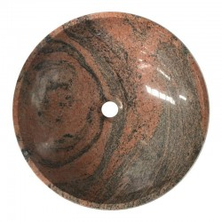 Multicolor Red Polished Round Basin Granite