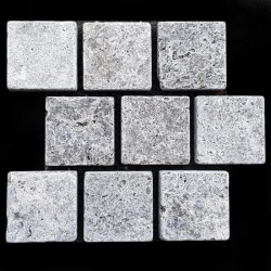 Silver Tumbled Brick Pattern Cobblestone Travertine