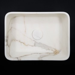 Calacatta Oro Honed Rectangle Marble Basin