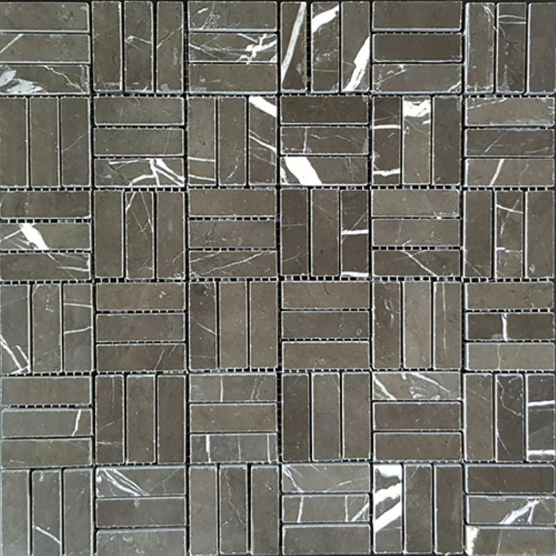 Pietra Grey Roma Pattern Polished Marble Mosaic 50x15