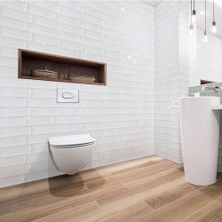 Spanish White Gloss Aria Ripple Subway Ceramic 300x100