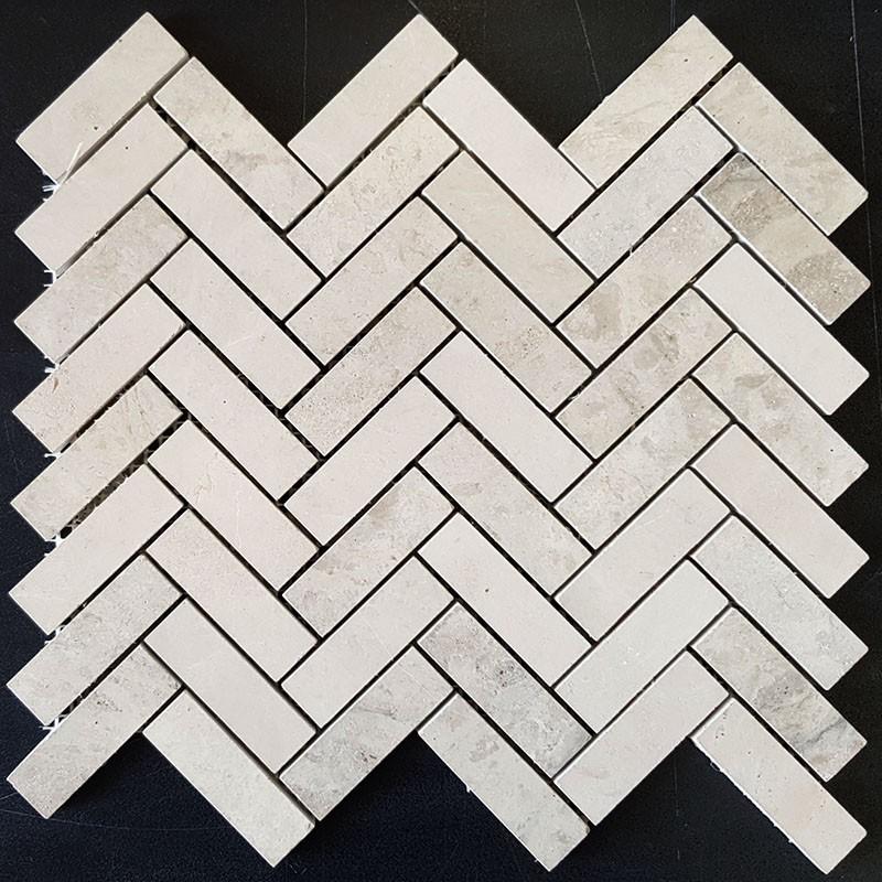 Gohera Herringbone Honed Limestone Mosaic 64x20