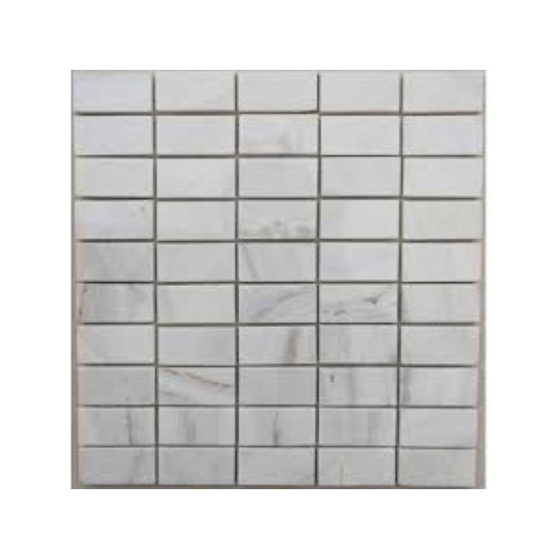 Bianca Luminous Polished Marble Mosaic Tile 60x30