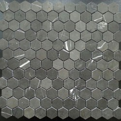 Pietra Grey Hexagon Honed Limestone Mosaic Tiles 42x42