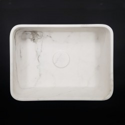 Calacatta Oro Honed Rectangle Marble Basin 3027