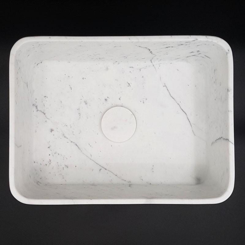 Carrara Honed Rectangle Marble Basin