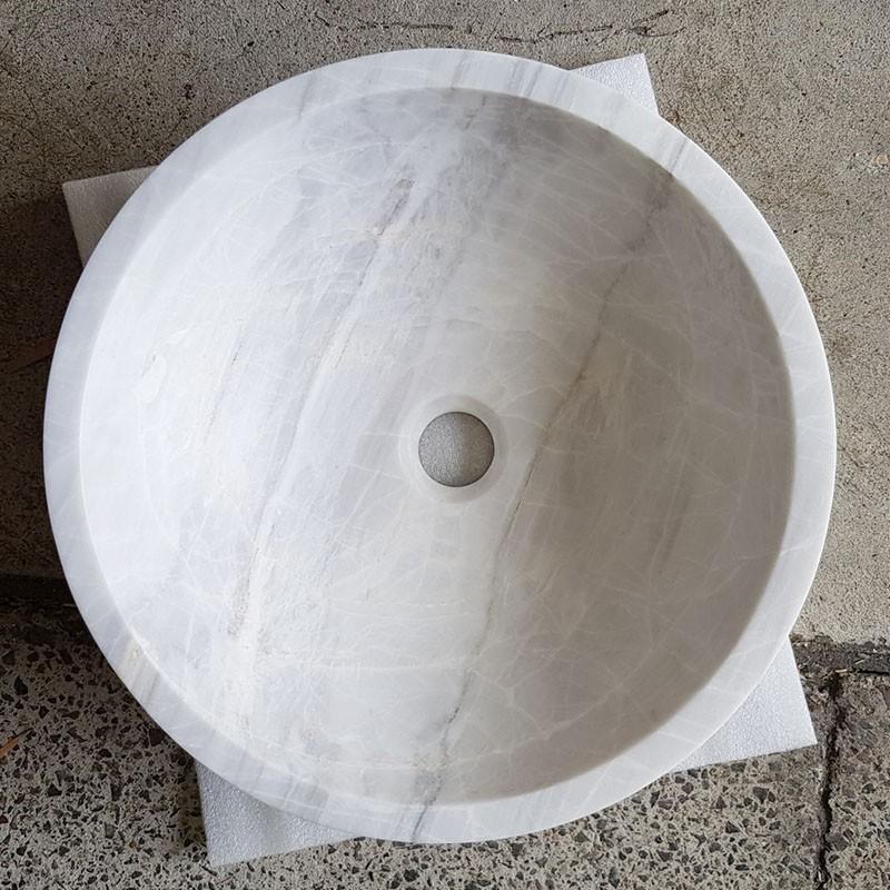 Bianca Luminous Polished Round Basin Marble