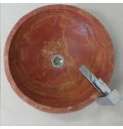 Rosso Honed Round Basin Travertine