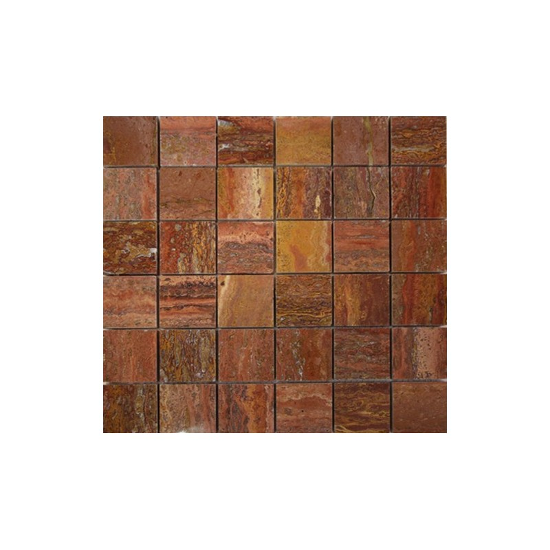 Rosso Veincut Filled Polished Travertine Mosaic 50x50