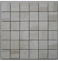 Travertine Chiaro Mosaic - Cross Cut - Epoxy Filled & Honed 50x50