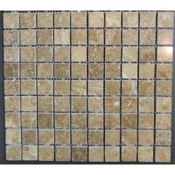 Travertine Noce Filled Polished Mosaic 30x30