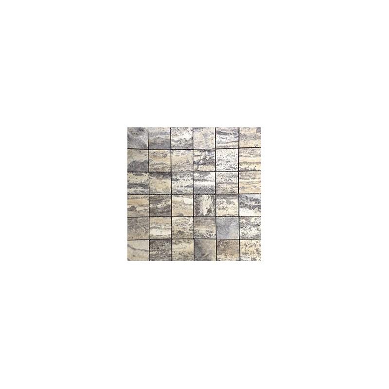 Multicolour Grey Filled Polished Travertine Mosaic 50x50