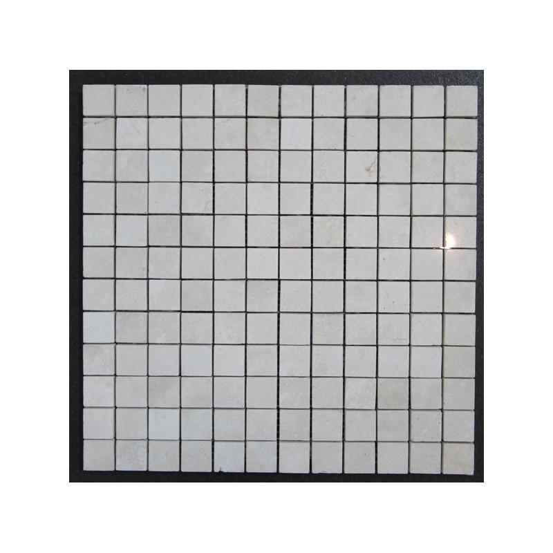 Travertine Chiaro Filled Polished Mosaic 23x23