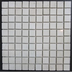Travertine Chiaro Filled Polished Mosaic 27x27