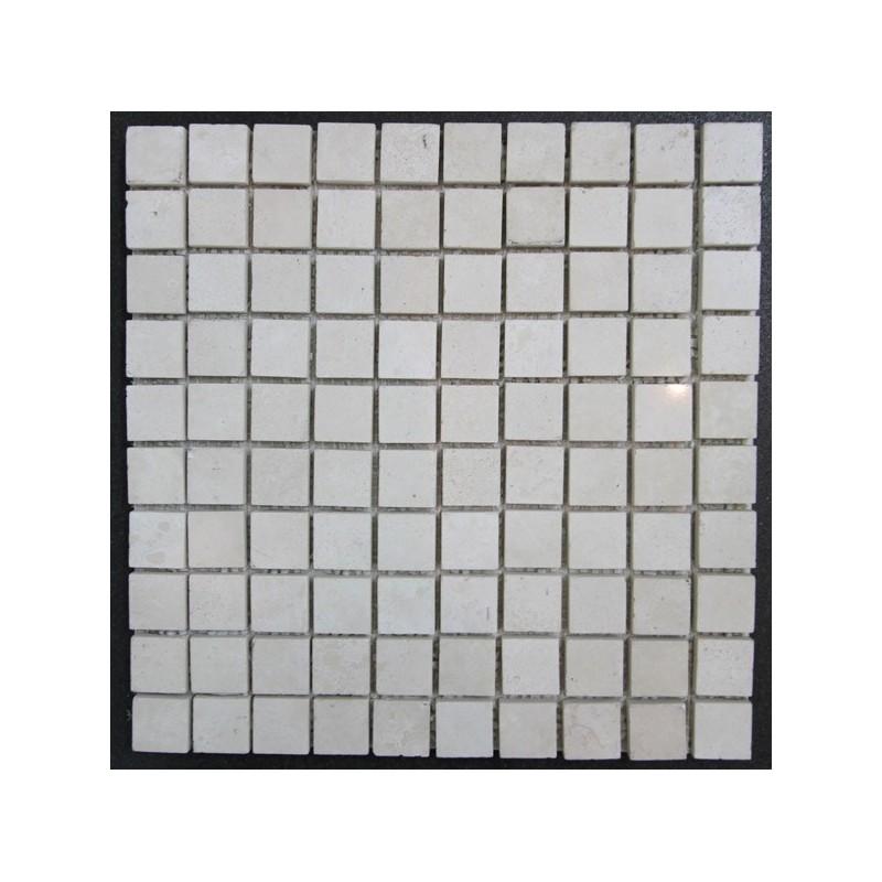 Travertine Chiaro Filled Polished Mosaic 27x27