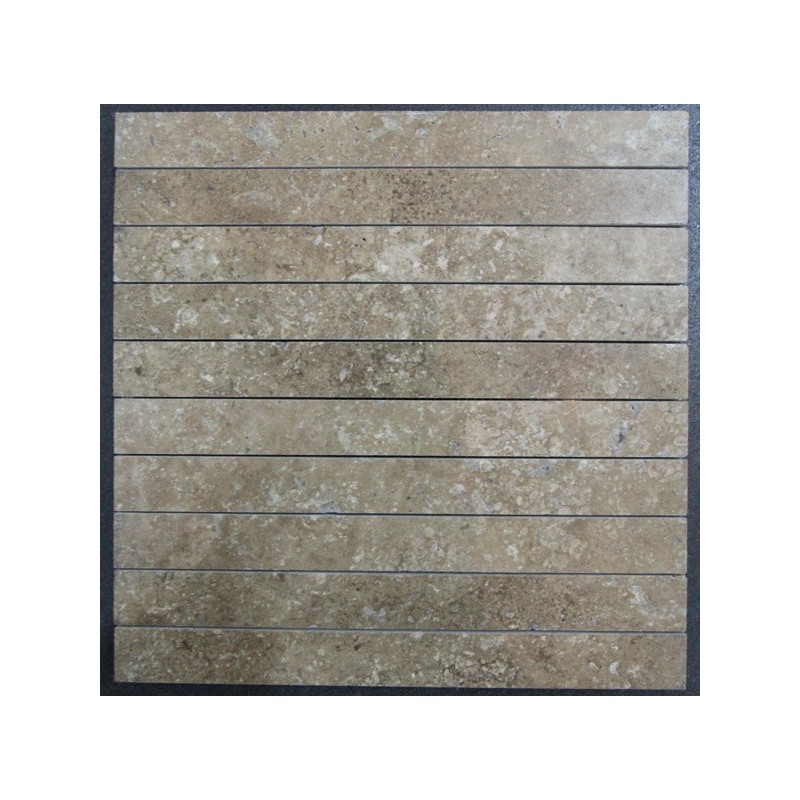 Travertine Noce Unfilled Honed Mosaic 300x30
