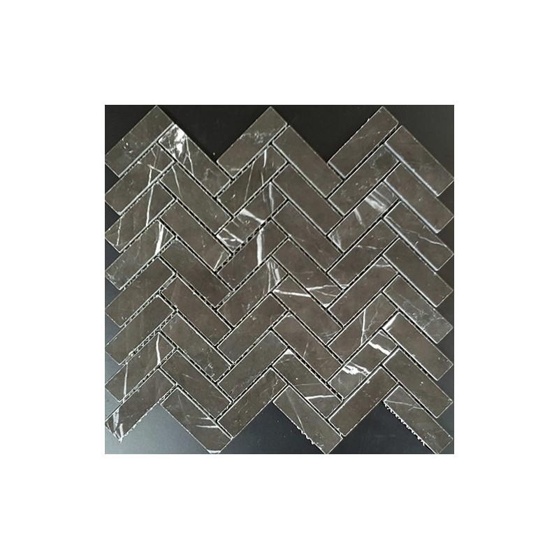 Pietra Grey Herringbone Honed Limestone Mosaic 64x20