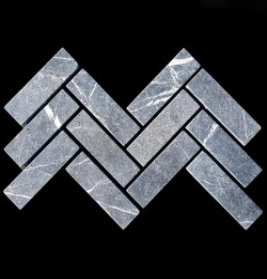 Pietra Grey Herringbone Tumbled Paver Limestone 200x60