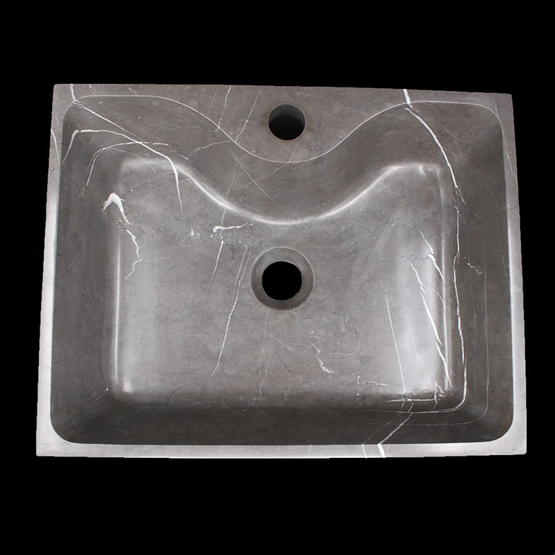 Pietra Grey Honed Rectangle Basin with Tap Hole Limestone 1554