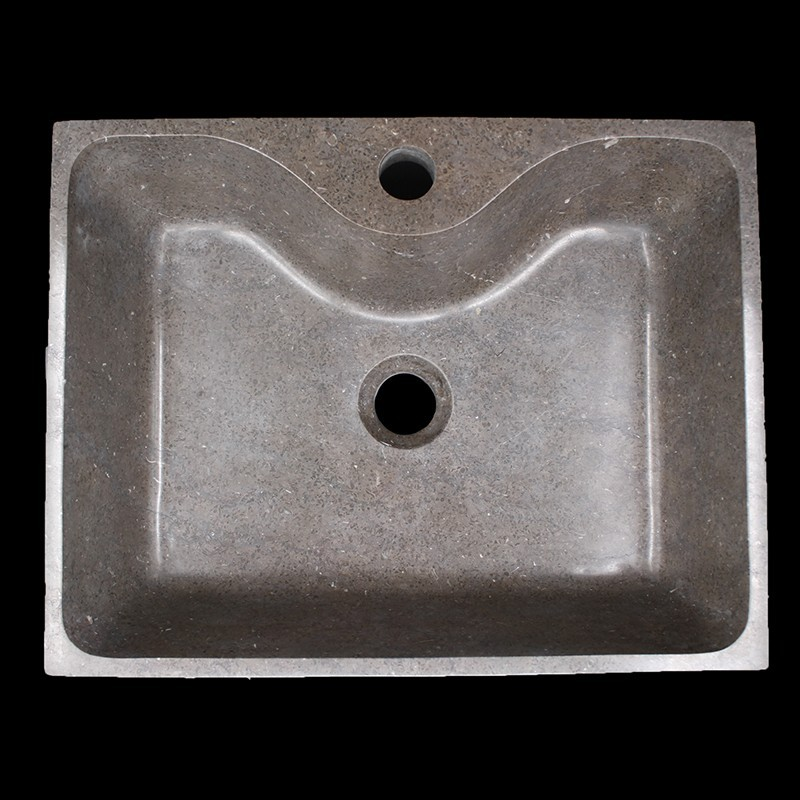 Pietra Brown Honed Rectangle Basin with Tap Hole Limestone 1508