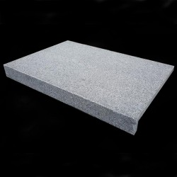 Diamond Grey Flamed Rebated Pencil Round Step Tread Granite