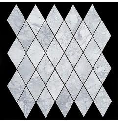 Super White Dolomite Diamond Honed Marble Mosaic 54x92