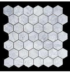 Super White Dolomite Hexagon Honed Marble Mosaic 48x48